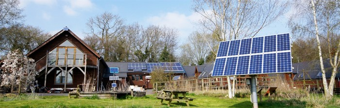 Wind Suns Office And Training Centre With Solar Tracker SEN SOL 50 And Integrated Photovoltaic Panels Banner