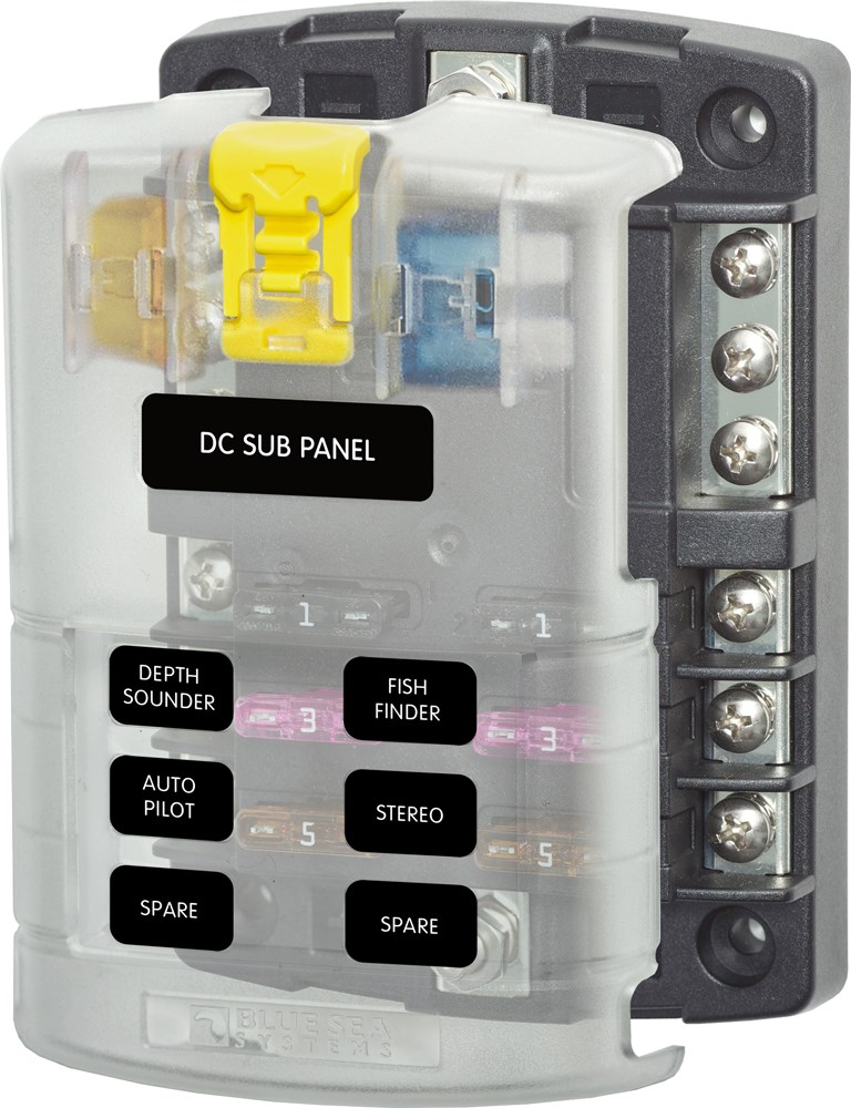 12 24 v dc circuit fuses and boxes wind sun standard blade fuse box 6 circuits negative bus bar and cover 12 or 24 vdc