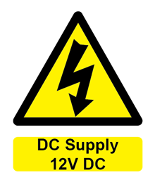W&S DC Supply 12V DC Label