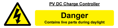 W&S PV DC Charge Controller Label