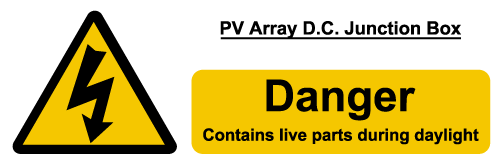 W&S PV Array DC Junction Box Label