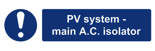 W&S PV System Main AC Isolator Label