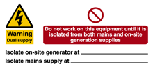 W&S Warning Dual Supply Label