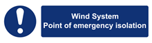 W&S Wind System Point Of Emergency Isolation Label