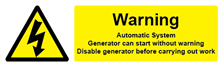 W&S Generator Warning Automatic System Label