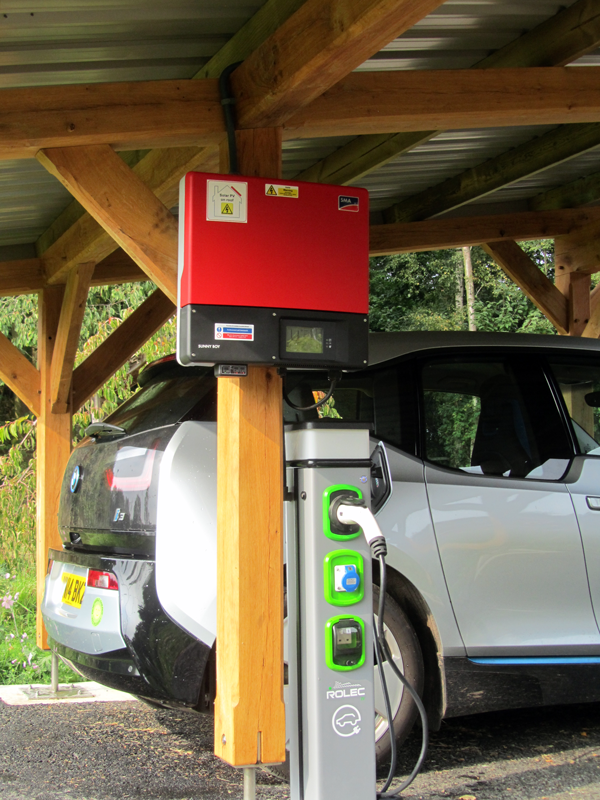 Wind & Sun Solar CarPort Photo 02 - SMA Inverter and Rolec Charging Point