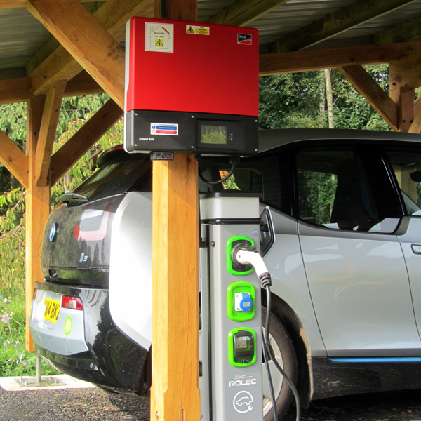 Wind & Sun CarPort Photo 02 SMA Inverter and Rolec Charging Point