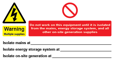 Warning Multiple Supplies - Energy Storage Systems Label