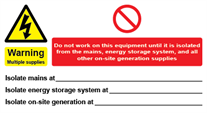 Warning Multiple Supplies Energy Storage Systems Label