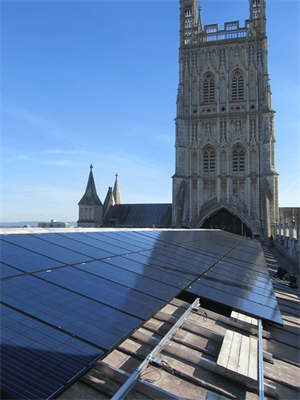 REC Solar Panels and SolarEdge Optimizers on Gloucester Cathedral