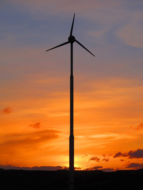 Isle Of Muck Evance Wind Turbine Sunset